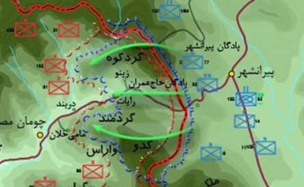 شهرستان کوهدشت در عملیات حاج عمران ۱۸ شهید را تقدیم انقلاب اسلامی ایران نمود./حضور فعالانه گردان محبین کوهدشت در این عملیات